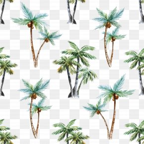 Vector Coconut Tree Background - Arecaceae Watercolor Painting Tree Euclidean Vector PNG