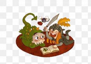 Cartoon Child Reading - Cartoon Child Illustration PNG