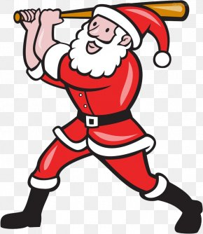 Santa Claus Playing Baseball - Santa Claus Baseball Batting Illustration PNG