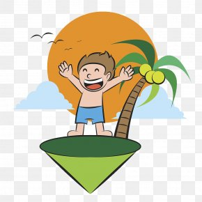 Cartoon Illustration Island Relax - Cartoon Illustration PNG