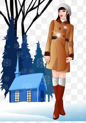 Winter Fashion Beauty Vector Illustration - Euclidean Vector Snow PNG