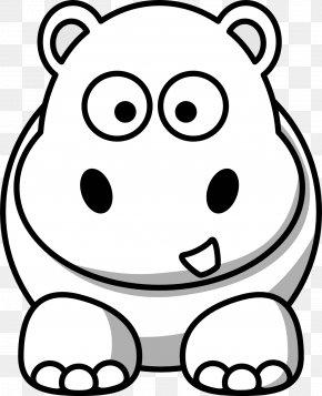 Hippopotamus Cliparts - Hippopotamus Black And White Cartoon Clip Art PNG