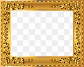 Gold Deco Border Frame Transparent Image - Picture Frame Gold Clip Art PNG