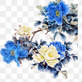Peony - Living Room Blue Wallpaper PNG