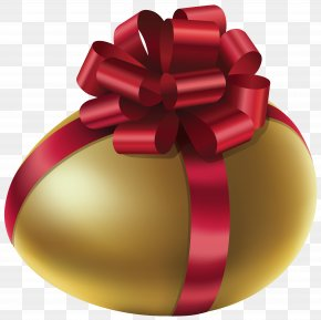 Easter Golden Egg With Red Bow Clip Art Image - The Golden Egg Egg Roll Chicken Spring Roll PNG