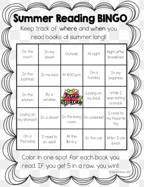 Book - Bingo Card Reading Book Elementary School PNG