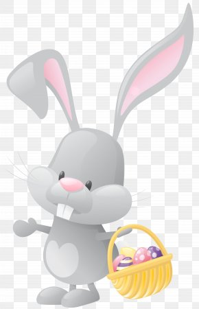 Easter Bunny With Basket Transparent Clip Art Image - Easter Bunny Rabbit Basket Clip Art PNG