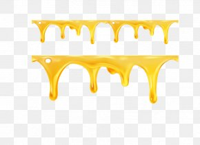Yellow Melt Flowing Water - Honey Bee Illustration PNG