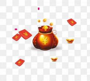 Floating Red Purse Gold - Red Envelope Designer PNG