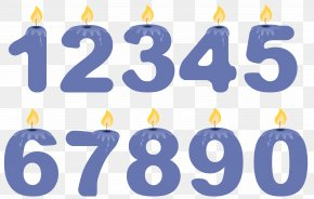 Transparent Numbers Birthday Candles Blue Clipart - Birthday Cake Candle Clip Art PNG