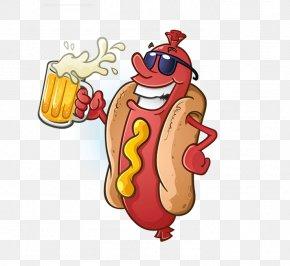 Cartoon Hot Dog Stock Image - Hot Dog Bratwurst Beer Barbecue PNG