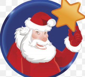 Santa Claus Five Pointed Star - Santa Claus Christmas Ornament Candy Cane PNG