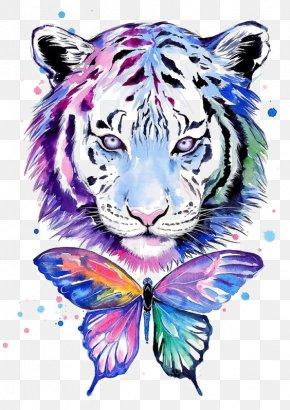 Water Tiger - Tiger Tiger T-shirt Watercolor Painting Drawing PNG