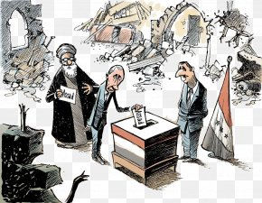 Cartoon Line Up To Vote - Cartoonist Comics Caricature PNG