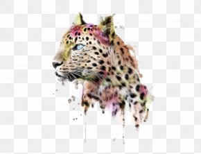 Hand-painted Watercolor Cheetah - Leopard T-shirt Clothing Dress Cheetah PNG