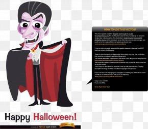 Vampire Cartoon Illustration - Dracula Halloween Vampire Illustration PNG