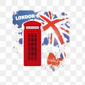 Retro London Street Telephone Booths - London Illustration PNG