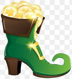 Leprechaun Shoe With Gold Coins Clipart Image - Leprechaun Shoe Boot High-heeled Footwear Clip Art PNG