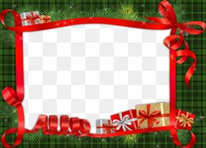 Cartoon Green Background Red Ribbon Frame - Christmas Picture Frame Photography PNG