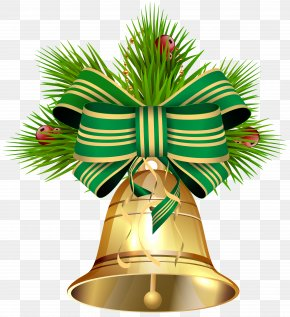 Christmas Bell With Green Ribbon Clip Art Image - Image File Formats Lossless Compression PNG