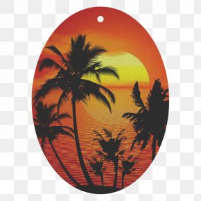 Palm Tree Sunrise - Palm Tree Silhouette PNG