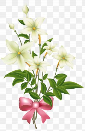 White Flowers With Pink Bow Clipart Image - Flower Bouquet White Clip Art PNG