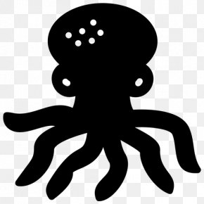 Blackandwhite Giant Pacific Octopus - Octopus Cartoon PNG