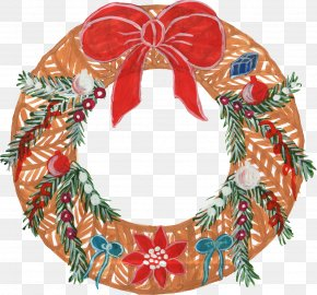 Watercolor Wreath - Wreath Christmas Ornament Candy Cane Clip Art PNG