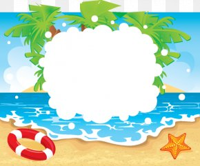 Beach Seaside Swimming Border - Beach Summer Vacation Clip Art PNG