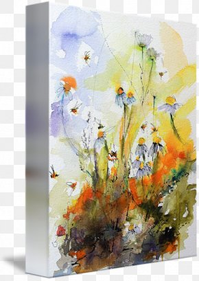 Ink Watercolor Painting - Floral Design Watercolor Painting Modern Art Acrylic Paint Still Life PNG