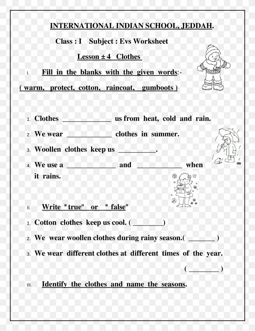 Worksheet Clothing Class First Grade Lesson Png 1700x2200px Watercolor Cartoon Flower Frame Heart Download Free