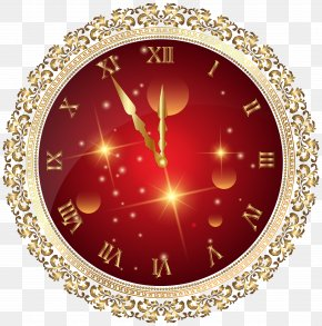 Red New Year's Clock PNG Transparent Clip Art Image - New Year's Eve New Year's Day Clip Art PNG