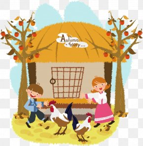 Yard Children - Chicken Cartoon Illustration PNG