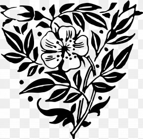 Anemone - Flower Art Black And White Floral Design Clip Art PNG