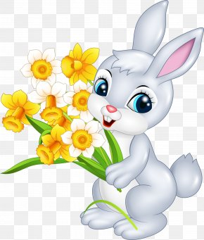 A Little Rabbit With A Flower - Easter Bunny Cartoon Rabbit Illustration PNG