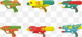 Flat Water Gun Collection - Water Gun Firearm Designer PNG