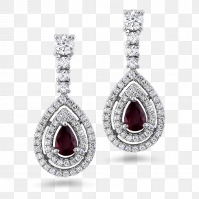 Diamond Stud Earrings - Ruby Earring Jewellery Diamond Gold PNG