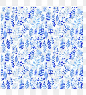 Leaves Blue Watercolor Background - Watercolor Painting Pattern PNG