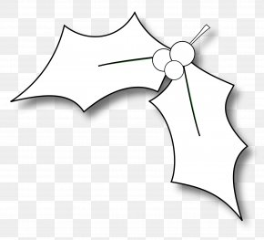 Leaflet - Common Holly Black And White Christmas Coloring Book Clip Art PNG