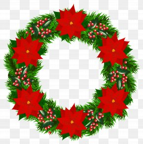 Christmas Wreath With Poinsettia Clipart Image - Christmas Tree Santa Claus Wreath Poinsettia PNG