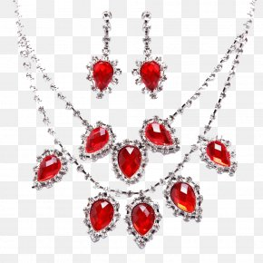 Ruby Necklace And Earrings - Earring Ruby Necklace Jewellery PNG