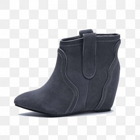 Ms. Gray And Black Boots Within The Higher - Suede Boot Shoe Walking PNG