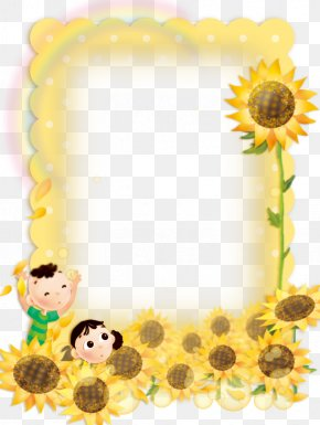Cute Child Sunflower Border Background - Picture Frame PNG