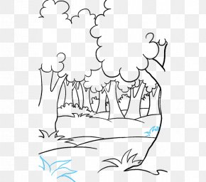 Cartoon Forest - Line Art Drawing Cartoon How To Draw Trees Forest PNG