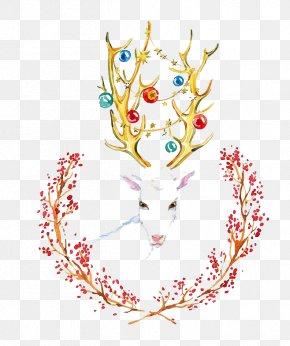 Watercolor Deer - Creative Watercolor Visual Arts Watercolor: Flowers Watercolor Painting Illustration PNG
