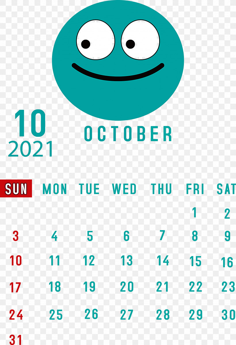 October 2021 Printable Calendar October 2021 Calendar, PNG, 2052x3000px, October 2021 Printable Calendar, Aqua M, Emoticon, Green, Happiness Download Free
