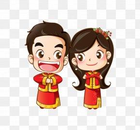 Cartoon Bride And Groom - Wedding Invitation Cartoon Drawing PNG