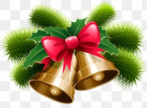 Holiday Ribbons - Christmas Decoration Jingle Bell Clip Art PNG