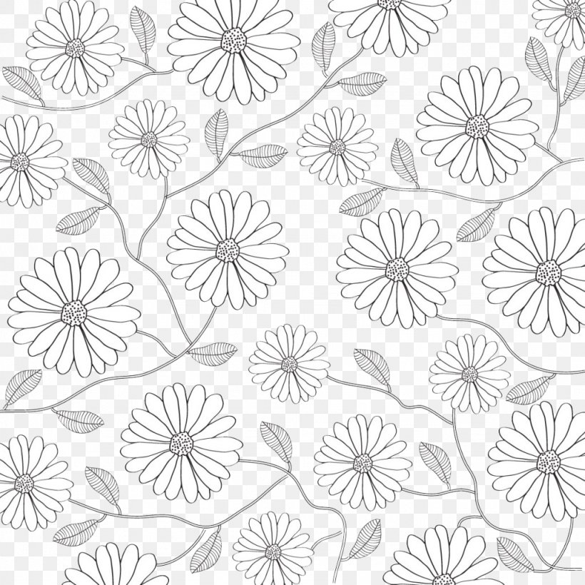 Black And White Flower Petal Pattern, PNG, 1024x1024px, White, Area, Black, Black And White, Drawing Download Free