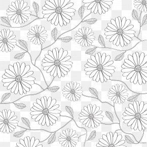 Black And White Lines Flowers Background - Black And White Flower Petal Pattern PNG